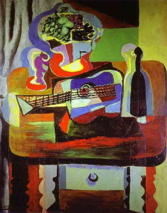 picasso-guitar-bottle-bowl-with-fruit-and-glass-on-table